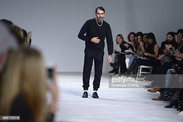 Giambattista Valli poses on the runway during the Giambattista Valli Haute Couture Spring Summer 2016 show as part of Paris Fashion Week on January...