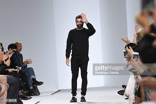 Giambattista Valli walks the runway during the Gambattista Valli show as part of the Paris Fashion Week Womenswear Spring/Summer 2017 on October 3...