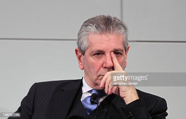 Giampaolo Di Paola Italian minister of defense participates in a panel discussion during day 3 of the 48th Munich Security Conference at Hotel...
