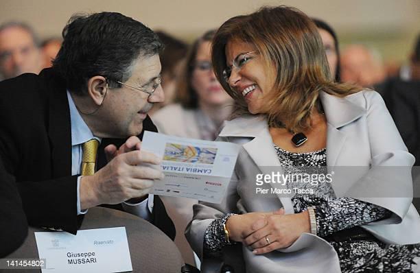 Giampaolo Galli General Director of Confindustria and Emma Marcegaglia Confindustria President attend Confindustria meeting Cambia Italia Riforme per...