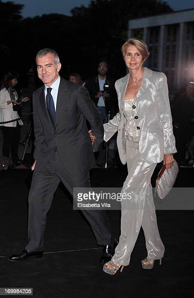 Giampaolo Letta and wife Rossana attend 'One Night Only' Roma hosted by Giorgio Armani at Palazzo Civilta Italiana on June 5 2013 in Rome Italy