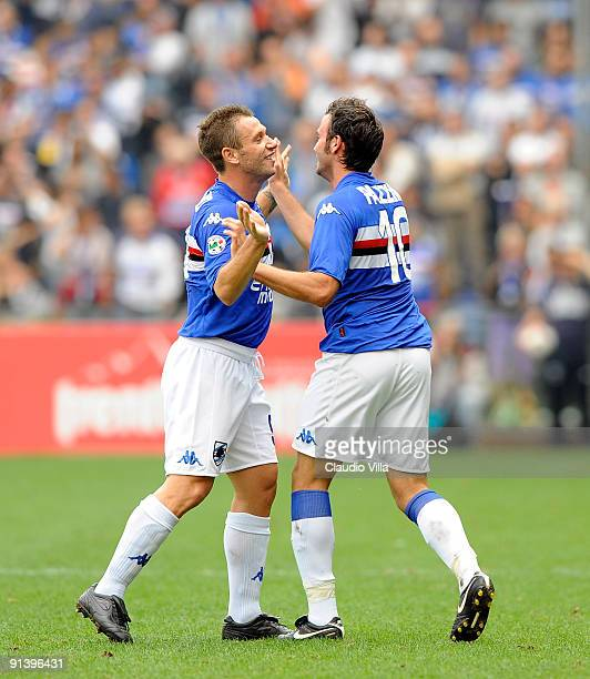 Giampaolo Pazzini and Antonio Cassano of UC Sampdoria after the first goal during the Serie A match between UC Sampdoria and Parma FC at Stadio Luigi...
