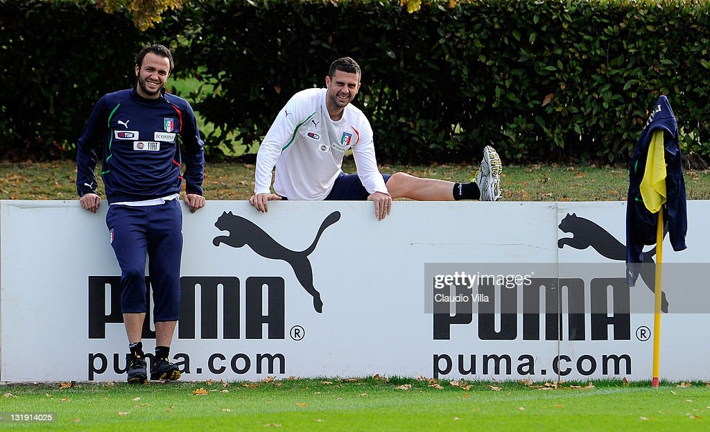 Giampaolo Pazzini and Thiago Motta of Italy smile during a training session at Coverciano on November 8, 2011 in Florence, Italy.