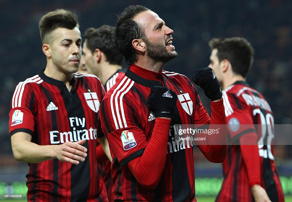 Giampaolo Pazzini of AC Milan celebrates after scoring the opening goal during the TIM Cup match between AC Milan and US Sassuolo Calcio at Stadio Giuseppe Meazza on January 13, 2015 in Milan, Italy.