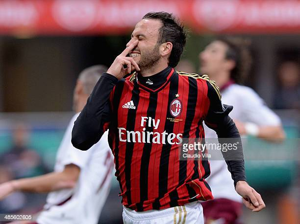 Giampaolo Pazzini of AC Milan celebrates scoring the third goal during the Serie A match between AC Milan and AS Livorno Calcio at San Siro Stadium...