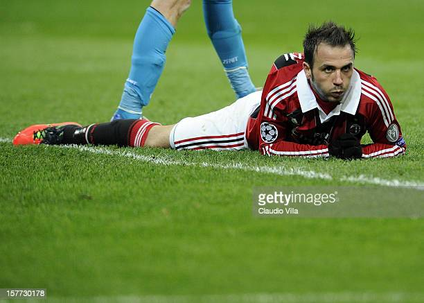 Giampaolo Pazzini of AC Milan dejected during the UEFA Champions League group C match between AC Milan and Zenit St Petersburg at San Siro Stadium on...