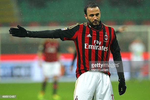 Giampaolo Pazzini of AC Milan gestures during the Serie A match between AC Milan and Torino FC at San Siro Stadium on February 1 2014 in Milan Italy