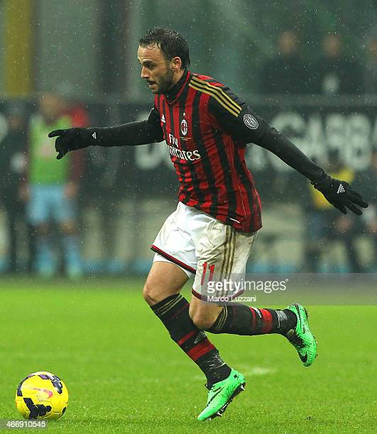 Giampaolo Pazzini of AC Milan in action during the Serie A match between AC Milan and Torino FC at San Siro Stadium on February 1 2014 in Milan Italy