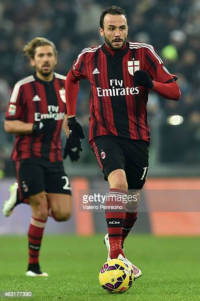Giampaolo Pazzini of AC Milan in action during the Serie A match between Juventus FC and AC Milan at Juventus Arena on February 7 2015 in Turin Italy