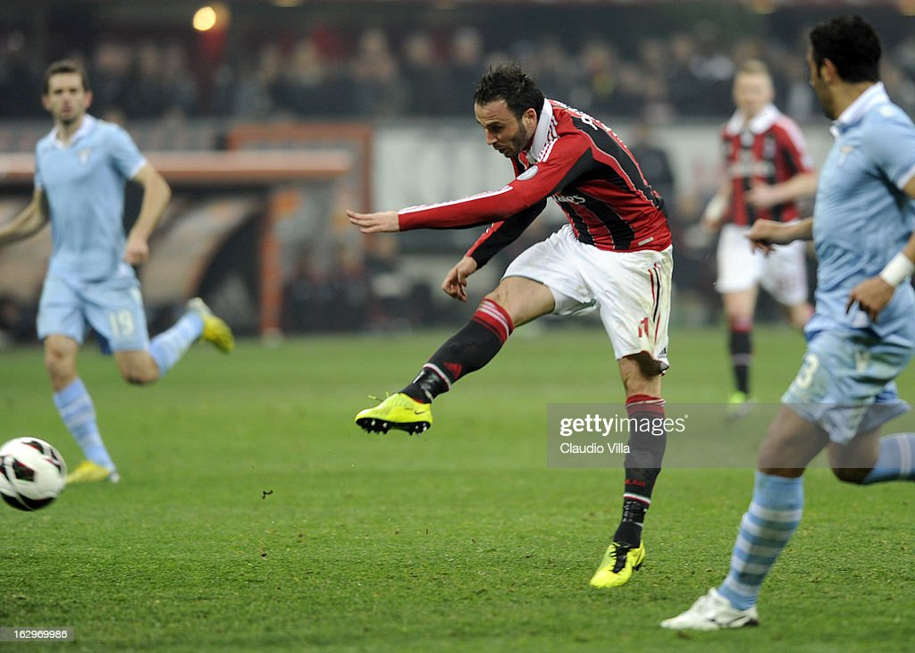 Giampaolo Pazzini of AC Milan scores the third goal during the Serie A match between AC Milan and S.S. Lazio at San Siro Stadium on March 2, 2013 in Milan, Italy.