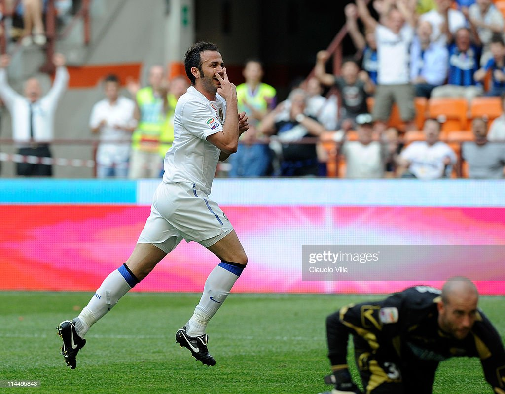 Giampaolo Pazzini of FC Inter Milan celebrates scoring the first goal during the Serie A match between FC Internazionale Milano and Catania Calcio at Stadio Giuseppe Meazza on May 22, 2011 in Milan, Italy.