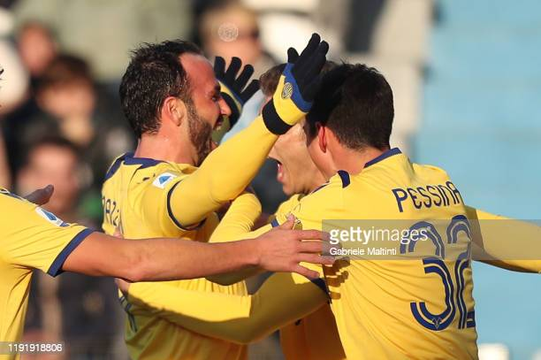 Giampaolo Pazzini of Hellas Verona celebrates after scoring a goal during the Serie A match between SPAL and Hellas Verona at Stadio Paolo Mazza on...