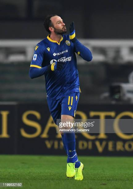 Giampaolo Pazzini of Hellas Verona celebrates after scoring his team second goal during the Serie A match between Hellas Verona and Juventus at...