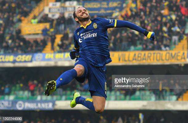 Giampaolo Pazzini of Hellas Verona celebrates after scoring his team third goal during the Serie A match between Hellas Verona and US Lecce at Stadio...