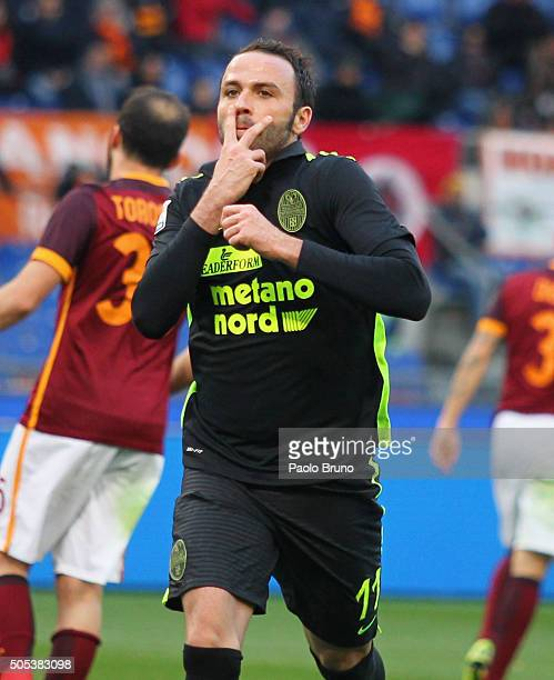 Giampaolo Pazzini of Hellas Verona celebrates after scoring the team's first goal from penalty spot during the Serie A match between AS Roma and...