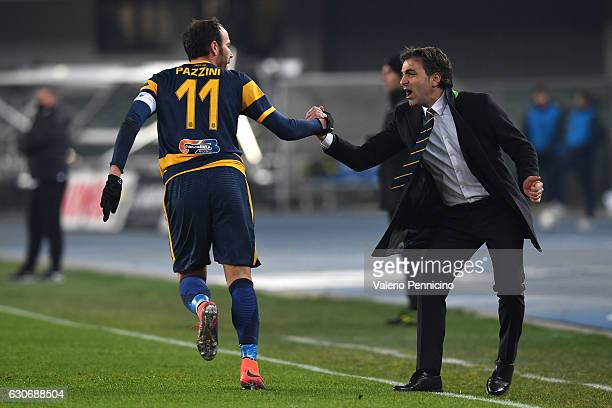 Giampaolo Pazzini of Hellas Verona FC celebrates the opening goal with his head coach Fabio Pecchia during the Serie B match between Hellas Verona FC...