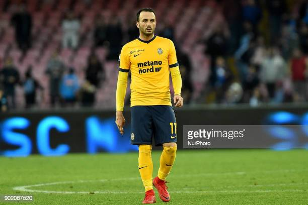 Giampaolo Pazzini of Hellas Verona FC during the Serie A TIM match between SSC Napoli and Hellas Verona FC at Stadio San Paolo Naples Italy on 6...