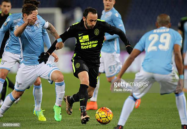 Giampaolo Pazzini of Hellas Verona FC in action during the Serie A match between SS Lazio and Hellas Verona FC at Stadio Olimpico on February 11 2016...