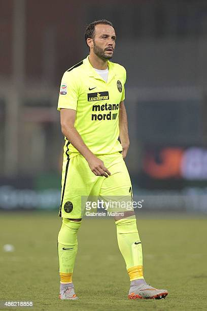 Giampaolo Pazzini of Hellas Verona FC looks during the Serie A match between Genoa CFC and Hellas Verona FC at Stadio Luigi Ferraris on August 30...