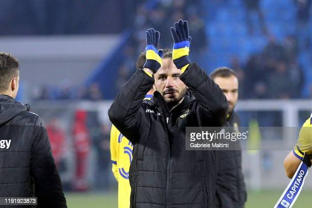 Giampaolo Pazzini of Hellas Verona greets fans after during the Serie A match between SPAL and Hellas Verona at Stadio Paolo Mazza on January 5 2020...