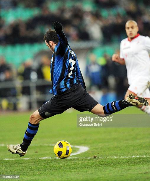 Giampaolo Pazzini of Inter scores his team's second goal during the Serie A match between AS Bari and FC Intenazionale Milano at Stadio San Nicola on...