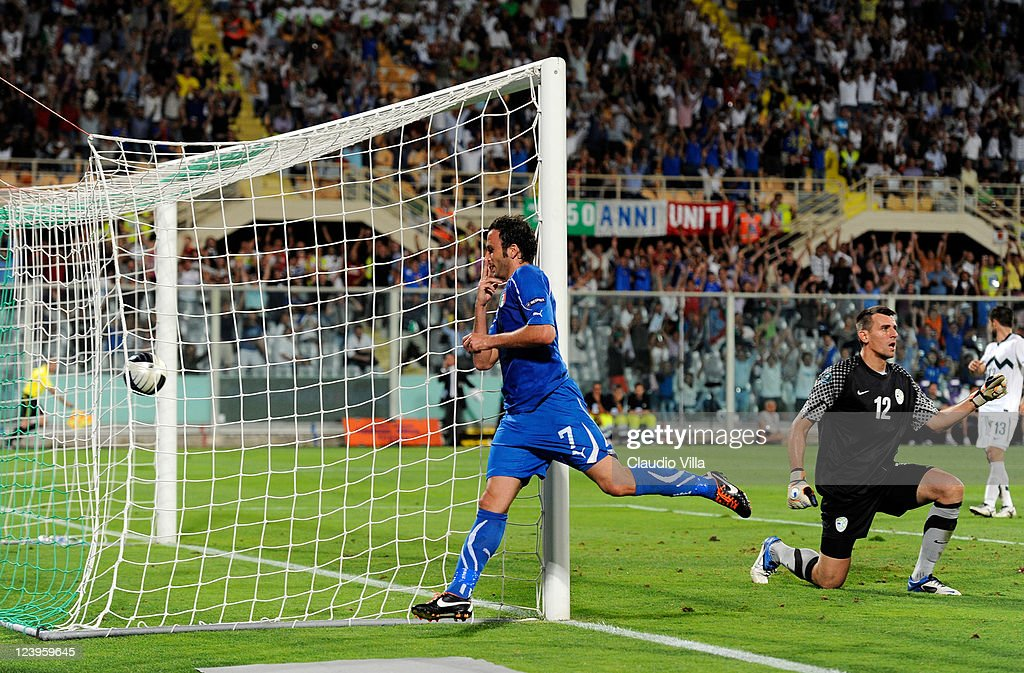 Giampaolo Pazzini of Italy celebrates scoring the first goal during the EURO 2012 Qualifier match between Italy and Slovenia at Stadio Artemio Franchi on September 6, 2011 in Florence, Italy.