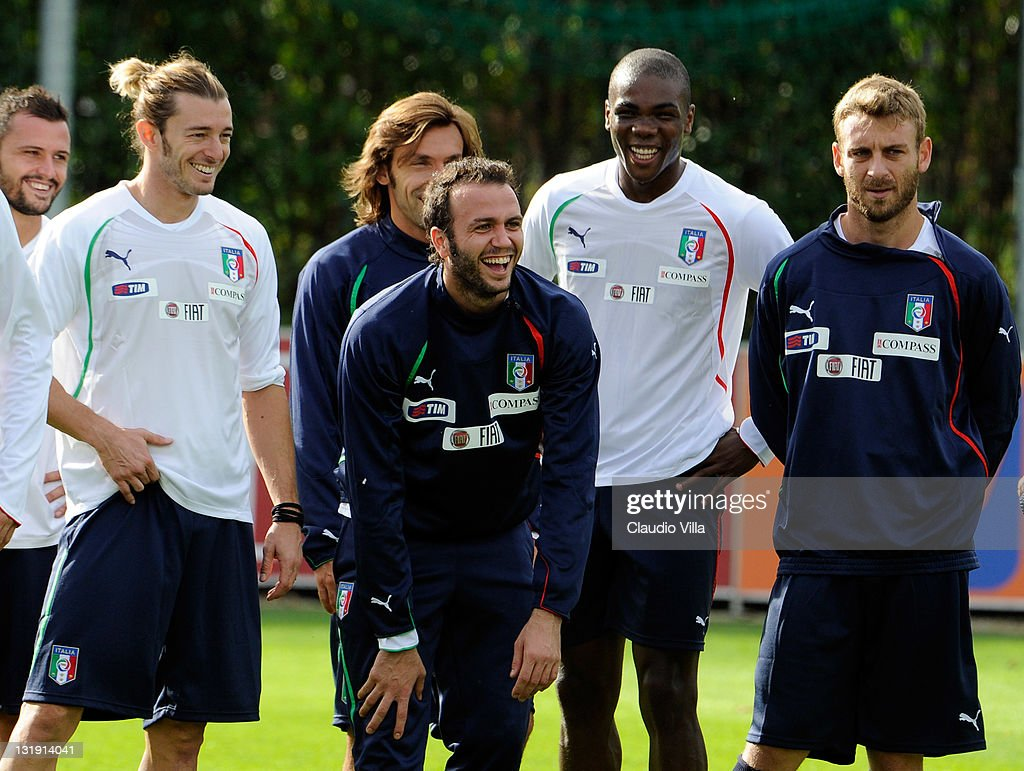 Giampaolo Pazzini (C) of Italy during training session at Coverciano on November 8, 2011 in Florence, Italy.