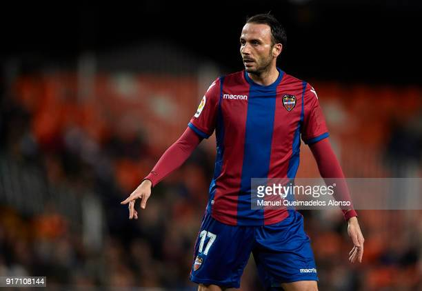 Giampaolo Pazzini of Levante reacts during the La Liga match between Valencia and Levante at Mestalla Stadium on February 11 2018 in Valencia Spain