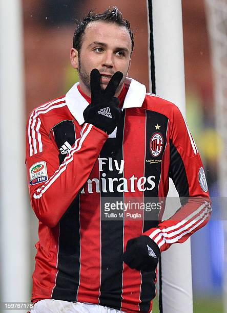 Giampaolo Pazzini of Milan celebrates after scoring his team's second goal during the Serie A match between AC Milan and Bologna FC at San Siro...