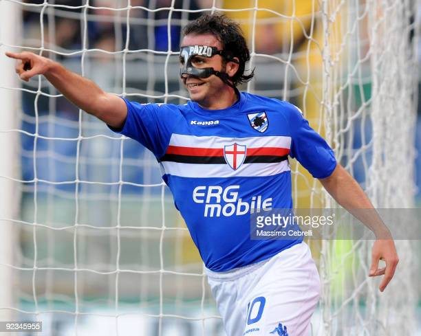Giampaolo Pazzini of UC Sampdoria celebrates scoring his team first goal during the Serie A match between UC Sampdoria and Bologna FC at Stadio Luigi...
