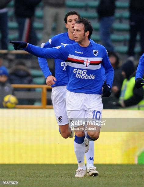 Giampaolo Pazzini of UC Sampdoria celebrates scoring the 11 equalising goal from a penalty during the Serie A match between UC Sampdoria and Catania...
