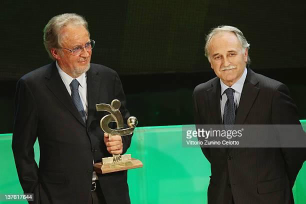 Giampaolo Pozzo and Fabrizio Larini attend the Gran Gala del calcio Aic 2011 awards ceremony at Teatro dal Verme on January 23, 2012 in Milan, Italy.