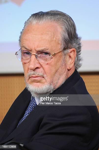 """Giampaolo Pozzo attends the """"Il calcio che VogliAMO"""" press conference at Sala Buzzati on May 20, 2013 in Milan, Italy."""