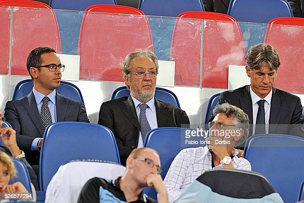 Giampaolo Pozzo in the middle president of Udinese Calcio during the Serie A match between SS Lazio and Udinese Calcio at Stadio Olimpico on August...