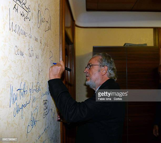 GIampaolo Pozzo President od Udinese during the press conference for the new stadium, signs the wall Rome on 30 of july 2013