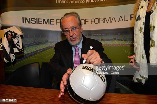 GIampaolo Pozzo President od Udinese during the press conference for the new stadium, signs the ball. Rome on 30 of july 2013