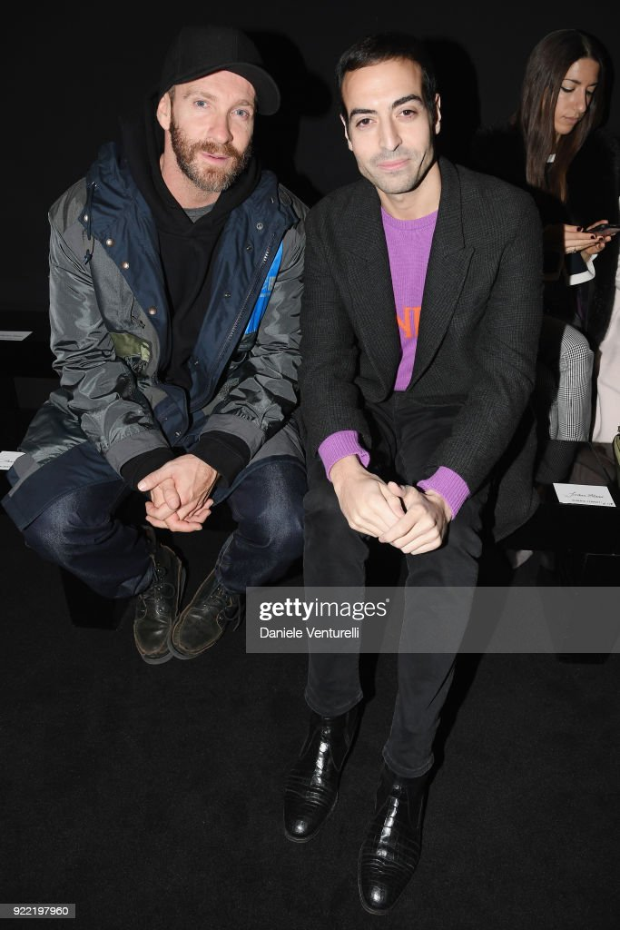 Giampaolo Sgura and Mohammed Al Turki attends the Alberta Ferretti show during Milan Fashion Week Fall/Winter 2018/19 on February 21, 2018 in Milan, Italy.