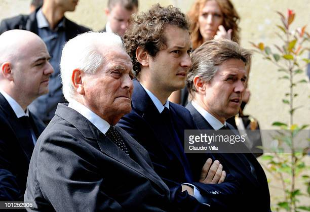 Giampiero Boniperti John Elkann and the General Manager of Liverpool Christian Purslow during the Heysel commemorative ceremony on May 29 2010 in...