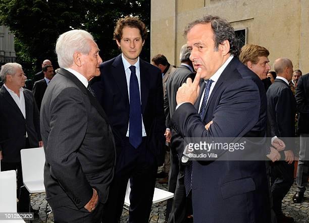 Giampiero Boniperti John Elkann and the UEFA President Michel Platini during the Heysel commemorative ceremony on May 29 2010 in Turin Italy The...