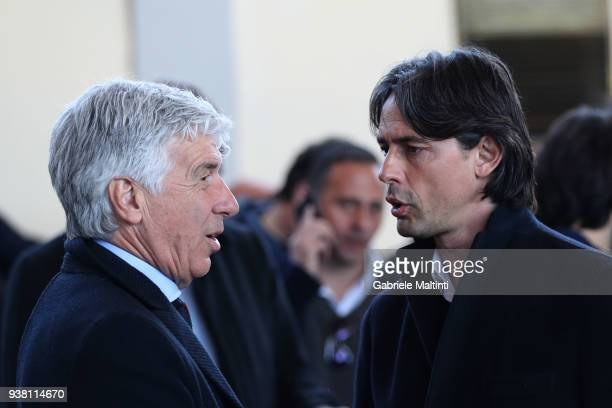 Giampiero Gasperini manager of Atalanta BC and Filippo Inzaghi manager of VeneziaMestre Calcio during the Golden Bench award at Coverciano on March...