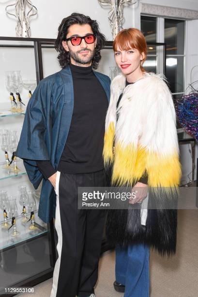 Giampiero Tagliaferri and Camilla Tisi attend Oliver Peoples x Tasya van Ree Celebrates Who is Oliver Exhibition at LECLAIREUR on February 13 2019 in...