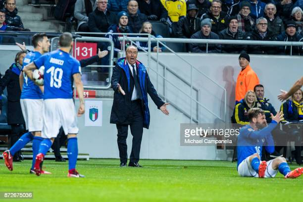 Giampiero Ventura head coach of Italy during the FIFA 2018 World Cup Qualifier PlayOff First Leg between Sweden and Italy at Friends arena on...