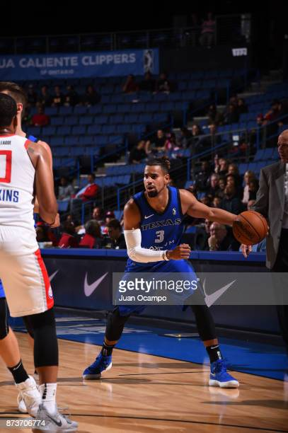 Gian Clavell of the Texas Legends dribbles the ball against the Agua Caliente Clippers in Ontario on November 10 2017 at Citizens Business Bank Arena...