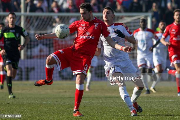 Gian Filippo Felicioli and Gabriele Rolando during the Serie B match between Carpi and Perugia at Stadio Sandro Cabassi on February 16 2019 in Carpi...