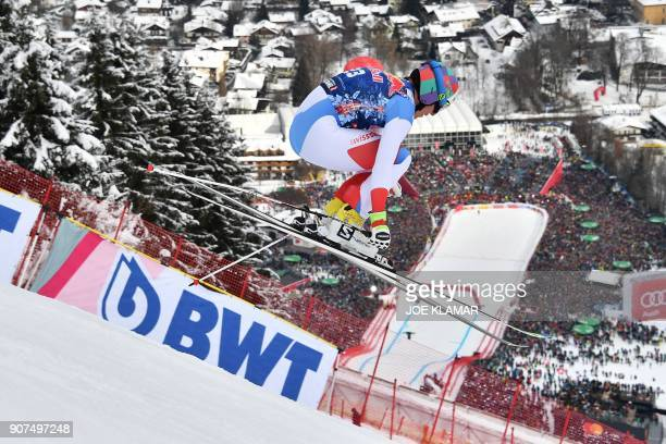 Gian Luca Barandun of Switzerland competes in the men's downhill event at the FIS Alpine World Cup in Kitzbuehel Austria on January 20 2018 / AFP...