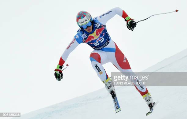 Gian Luca Barandun of Switzerland performs during a training session of the FIS Alpine World Cup Men's downhill event in Kitzbuehel Austria on...