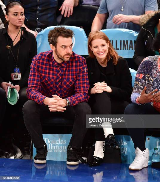 Gian Luca Passi de Preposulo and Jessica Chastain attend Los Angeles Lakers Vs New York Knicks game at Madison Square Garden on February 6 2017 in...