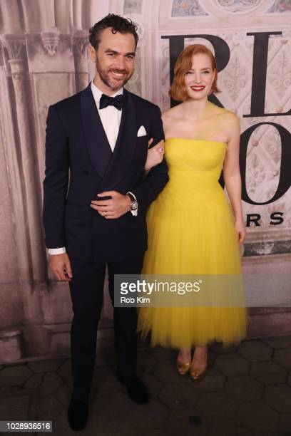Gian Luca Passi de Preposulo and Jessica Chastain attend the Ralph Lauren fashion show during New York Fashion Week at Bethesda Terrace on September...