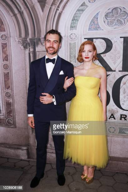 Gian Luca Passi de Preposulo and Jessica Chastain during the Ralph Lauren 50th Anniversary September 2018 New York Fashion Week at Bethesda Terrace...