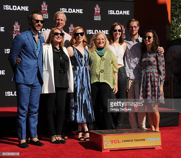 Gian Luca Passi de Preposulo Jerri Chastain Michael Hastey actress Jessica Chastain Marilyn Herst Laci Smoot and Daniel Hastey pose at the Hand And...